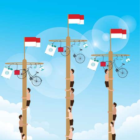 Klimmen spel met opknoping prijs op de top Indonesische vier onafhankelijkheid dag vector Stockfoto - 60187353