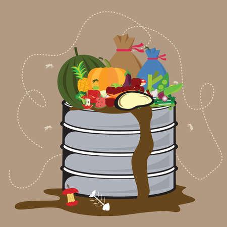 déchets alimentaires organique dégradable dans la poubelle avec flied tout autour de vecteur