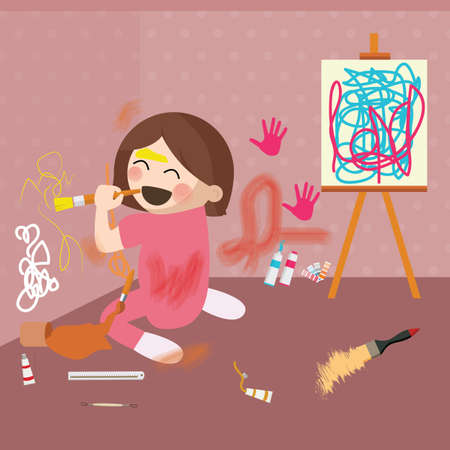 messy house: girl doodling on wall, messy house vector Illustration