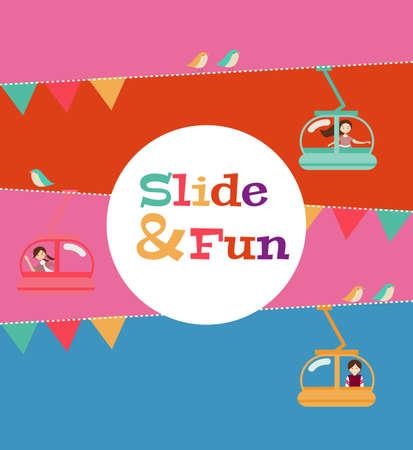 kids at the ski lift: slide and fun activities, ski lift cable vector