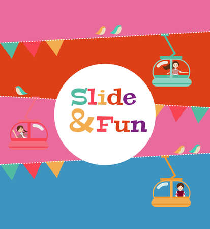 slide and fun activities, ski lift cable vector