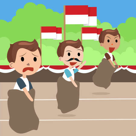 indonesia: Indonesia traditional special games during independence day, man racing inside bag vector Illustration