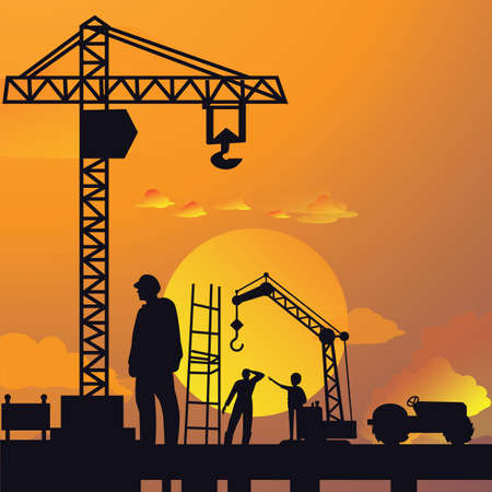 sky  dramatic: silhouette of man working on construction site with crane and building in sunset sky dramatic illustration vector Illustration