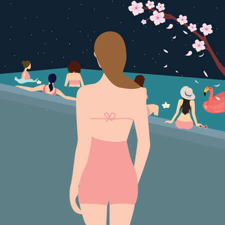 swimming pool woman: female woman back looking at swimming pool girls swimming together with friend during the night vector