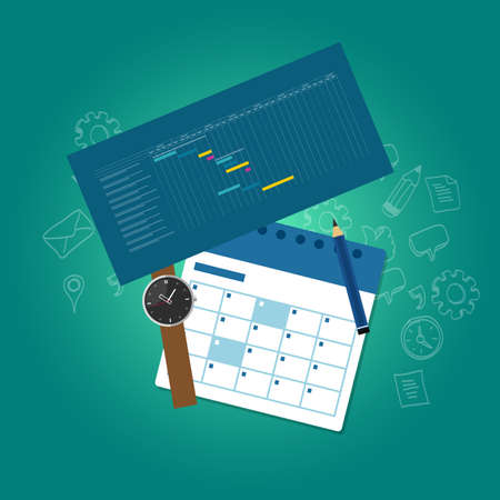 scheduling: planning and scheduling time calendar timeline gantt chart vector