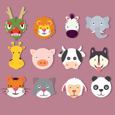 animal icon set faces mask vector cute of dragon lion tiger panda pig elephant sheep cat vector