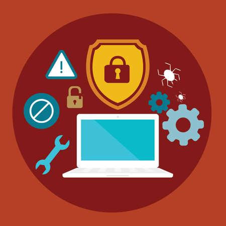 anti virus: anti virus security computer locked shield flat illustration vector