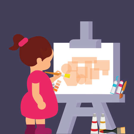 artist: kid girl drawing painting to get creative vector
