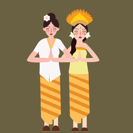 two girls represent Indonesia ethnic group wearing traditional dress clothes smile beautiful vector