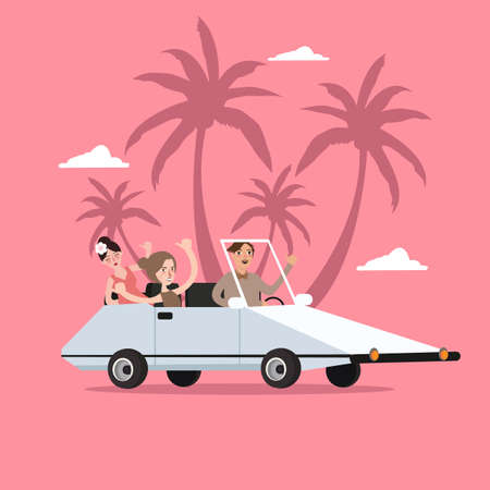 group travel: group of people ride car open for travel holiday with palm tree behind vector