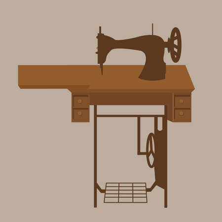old sewing machine vintage antique tailor fashion equipment in brown illustration vector Illustration