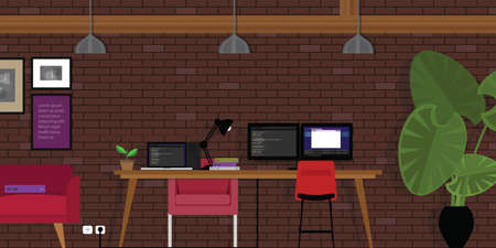 interior wall: start-up open works-pace co-working office industrial style with programming coding desk and brick vector