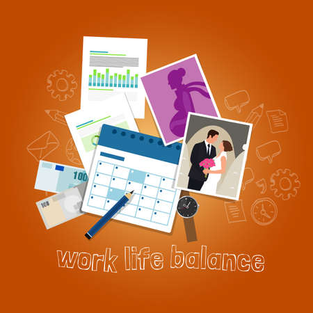home finances: work life balance concept of balancing people time and priorities between money and family vector
