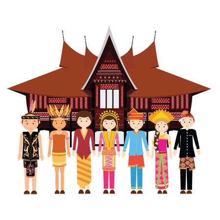 Indonesia grupo étnico que desgasta la ropa de vestir tradicionales delante de un vector casa cultural