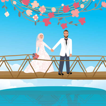 muslim fashion: couple holding hand in bridge woman wearing scarf veil Islamic symbol vector
