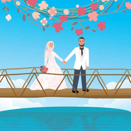 bridge hand: couple holding hand in bridge woman wearing scarf veil Islamic symbol vector