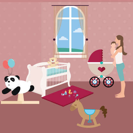 nursery room: baby nursery room with crib toys and moms holding the baby vector Illustration