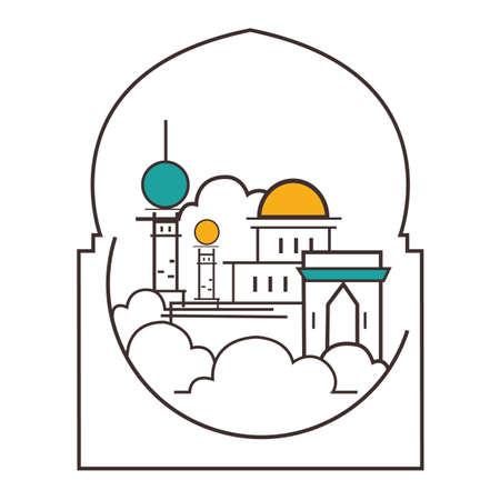 minaret: mosque dome minaret illustration line outline style icon of Islam