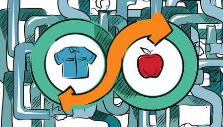 barter: barter commerce trade transaction economic concept exchange swap goods Illustration