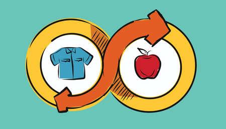 barter: barter commerce trade transaction economic concept exchange swap goods drawing illustration