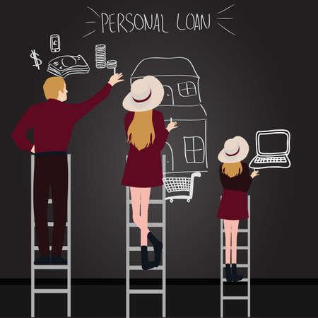 les gens dette de prêt personnel en famille essaient d'obtenir ce qu'ils veulent atteindre par une échelle de la maison d'argent pour ordinateur portable