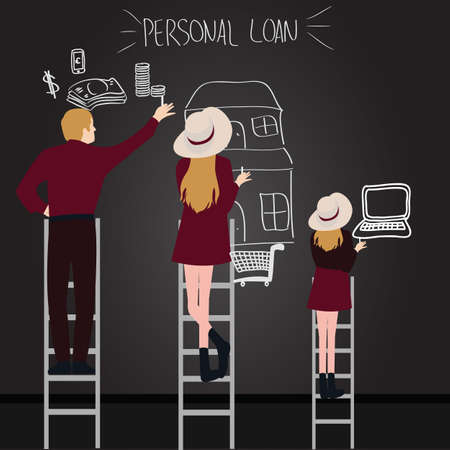 persoonlijke lening schuld van de mensen in het gezin proberen te krijgen wat ze willen bereiken met de ladder van het huis van geld aan laptop