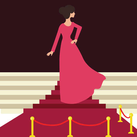 from behind: model celebrity on red carpet woman female from behind entrance celebration event Illustration
