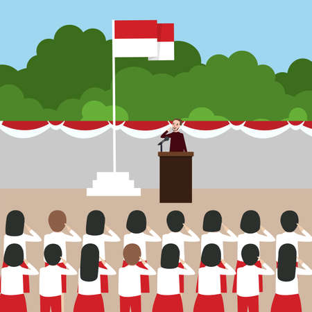 Indonesia flag ceremony school kids during national independent day