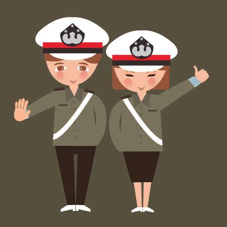 kid portrait: kids boy and girl wearing police cop uniform children dreaming their profession occupation