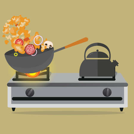 vegetable cook: frying pan cooking stirred vegetable and meat on top of stove