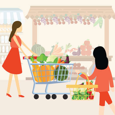 woman girl mom shopping using cart buy vegetable at supermarket healthy ingredients Vectores