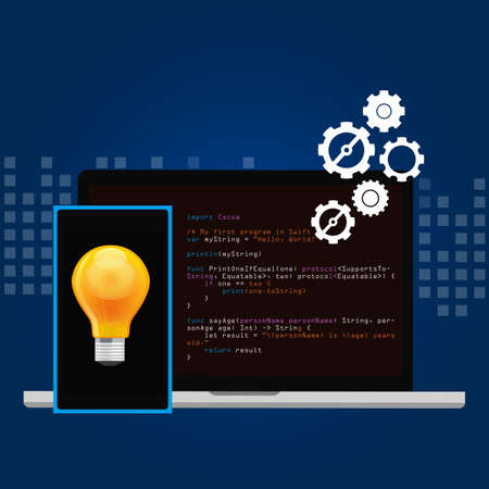 mobile application: mobile application programming language code smart phone head and idea
