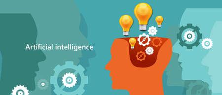 AI kunstmatige intelligentie computer-technologie om mensachtige robot hersenen te creëren Vector Illustratie