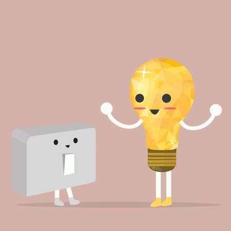 turn off: turn me on off, lamp bulb idea, talk to switch Illustration