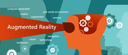 AR augmented reality concept illustration had vision interaction  イラスト・ベクター素材