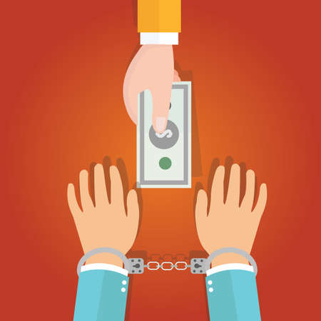 slavery: buy freedom concept represent with hand holding money and handcuffed Illustration
