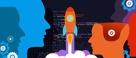 deployment: tech start-up technology programming launch rocket Illustration