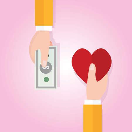love of money: money buying love happiness heart shape symbol price Illustration