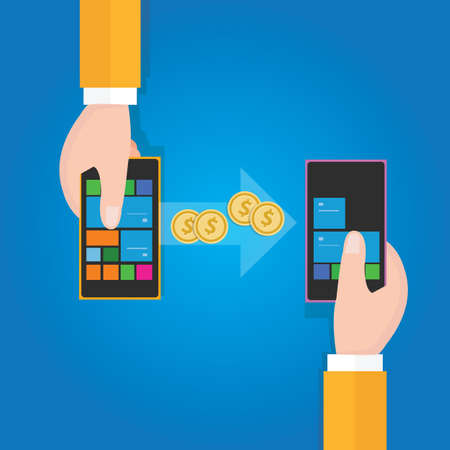 charges: transfer money from phone to mobile handphone Illustration