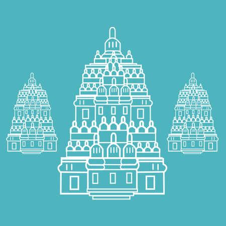 hindu temple: prambanan Hindu temple Indonesia illustration line art drawing Illustration