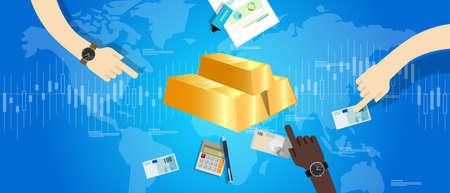 gold bar price market hand holding money transaction vector Illustration