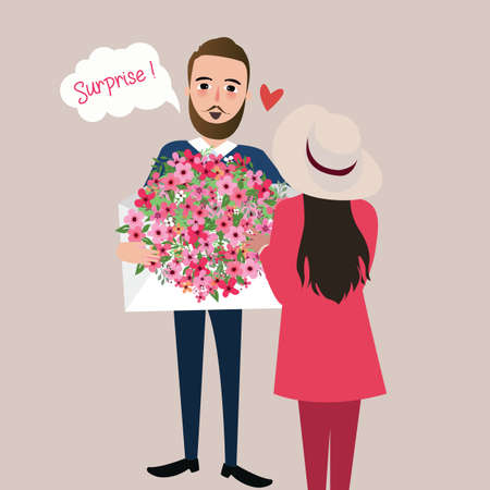 give: man give girl flower bouquet surprise vector illustration love Illustration