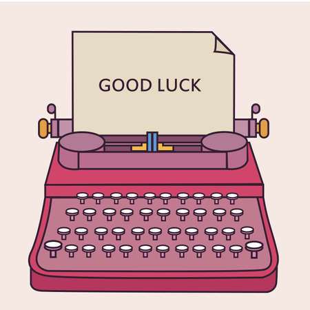 farewell: good luck type writer thin line style illustration vector