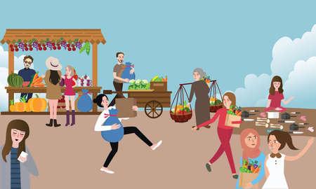 야외에서 벡터 구매 및 물건을 파는 전통적인 오픈 시장 활동 바쁜 사람들 일러스트