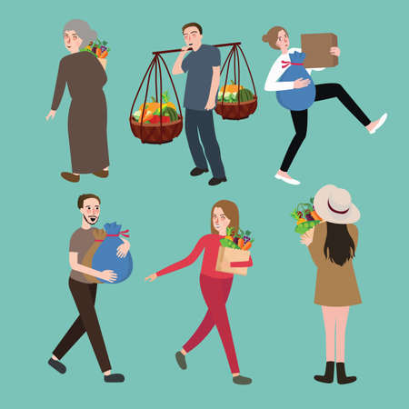 hard stuff: people man woman character bring stuff carry object set activities collection vector
