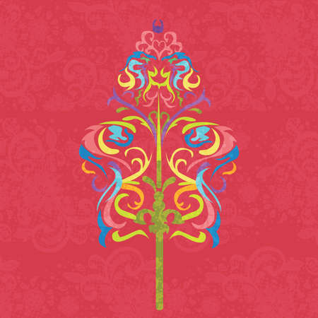 full color: wayang traditional art pattern floral decorative color full vector