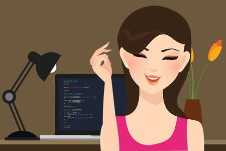 girl laptop: beautiful girl female programmer occupation jobs programming in laptop screen code behind vector