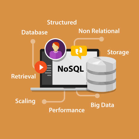 management system: NoSQL non relational database concept vector laptop data Stock Photo