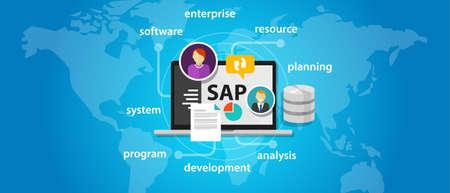 SAP システム ソフトウェア エンタープライズ リソース プランニング グローバル国際ベクトル 写真素材