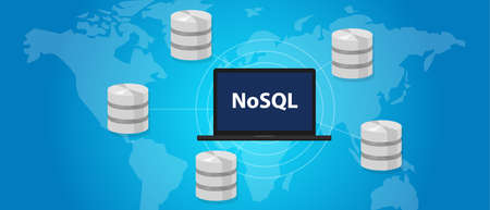 NoSQL non relational database concept world wide distribution vector Stock Photo